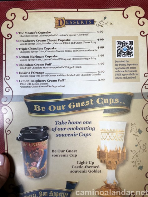menu Be our guest restaurant disney