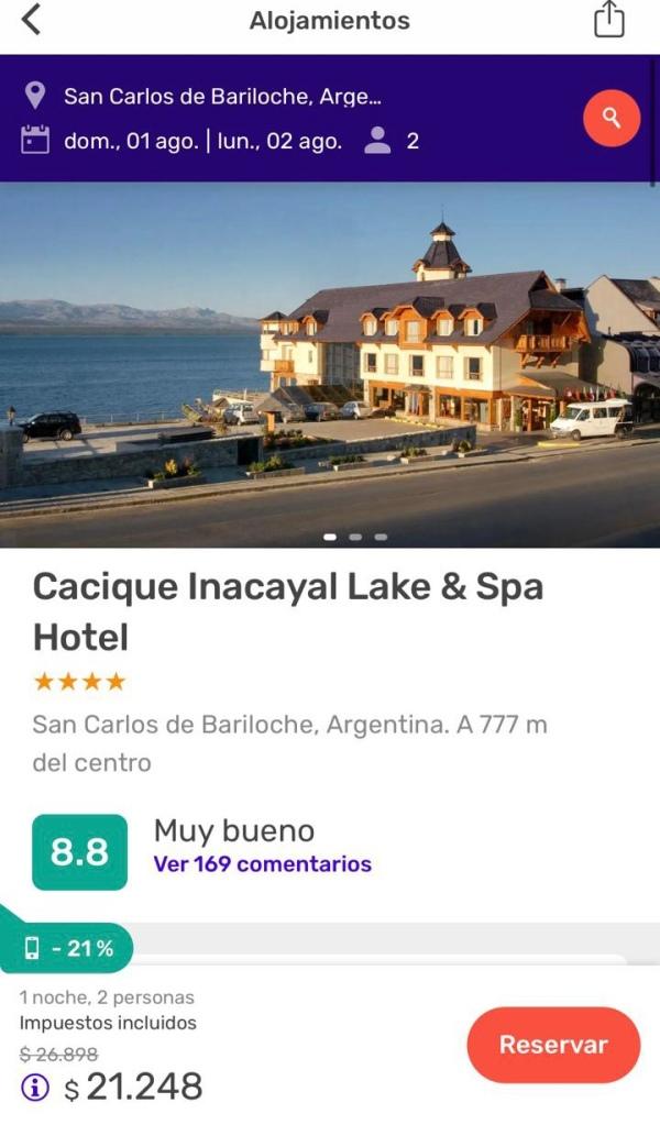 Comparación de precios hoteles Argentina Brasil